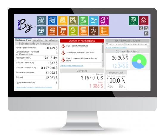IPSO Biz | écran du logiciel de gestion