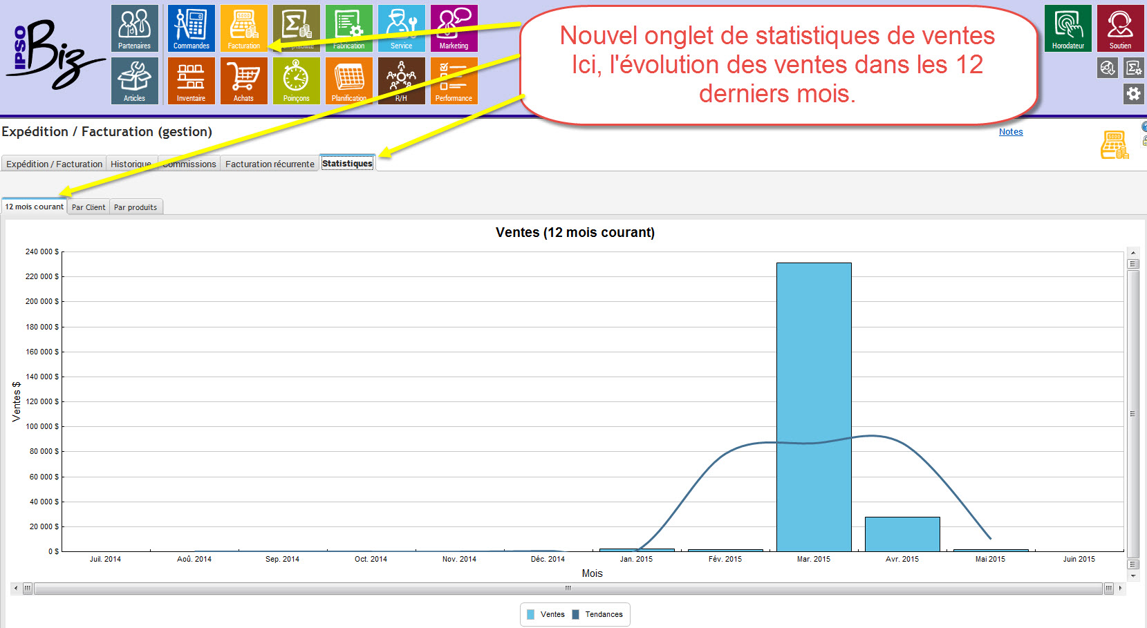 12 months sales statistics
